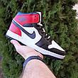 Кроссовки мужские Nike Air Jordan 1 Retro белые с чёрным и красным (Top replic), фото 2