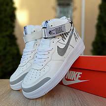 Кроссовки мужские Nike Air Force 1' 07 (Рефлектив) высокие белые с серым (Top replic), фото 2
