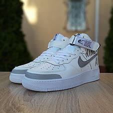 Кроссовки мужские Nike Air Force 1' 07 (Рефлектив) высокие белые с серым (Top replic), фото 3
