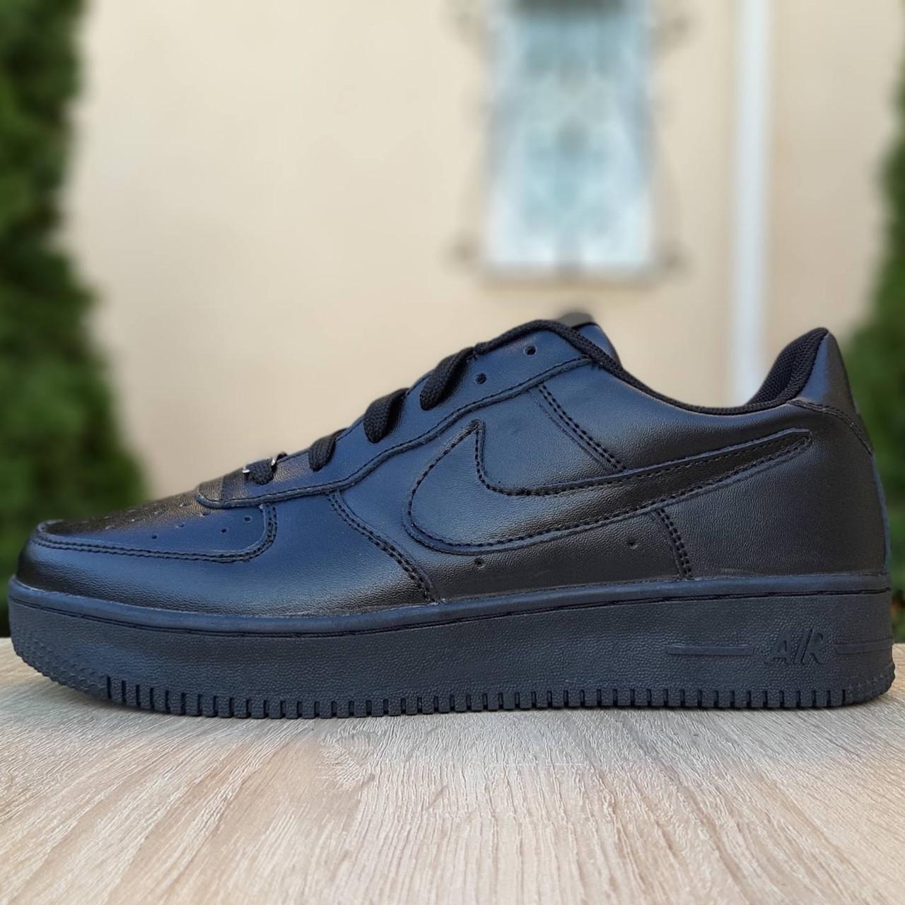 Кроссовки мужские Nike Air Force 1 низкие черные (Top replic)