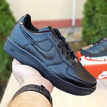 Кроссовки мужские Nike Air Force 1 низкие черные (Top replic), фото 3