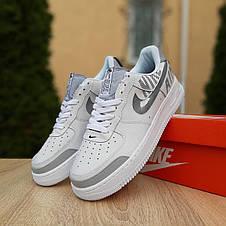 Кроссовки мужские Nike Air Force 1' 07 (Рефлектив) низкие белые с серым (Top replic), фото 3