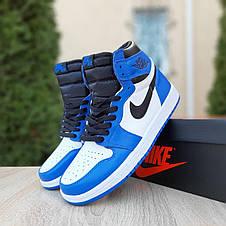 Кроссовки мужские Nike Air Jordan 1 Retro cиние с белым (Top replic), фото 3