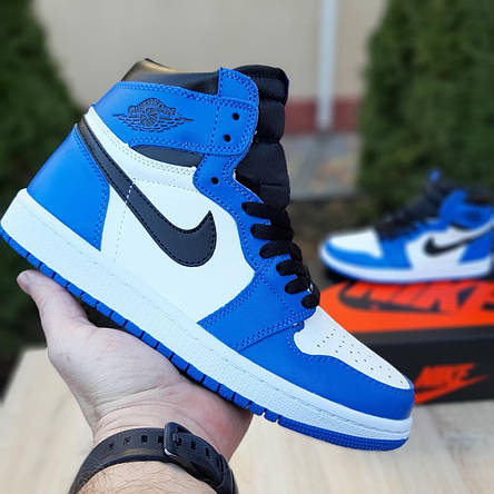 Кроссовки мужские Nike Air Jordan 1 Retro cиние с белым (Top replic), фото 2