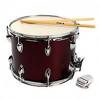 """Маршовий барабан, бордо, розмір 14""""*10""""*16lug, бар.палички і ремені, 31,5 вис, діам-36"""