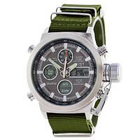 AMST Silver-Black Green Wristband Часы мужские наручные кварцевые электронные