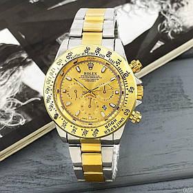 МУЖСКИЕ часы ROLEX Daytona Date Silver-Gold (Ролекс Дайтоне серебро - золото)  Чоловічий годинник, реплика