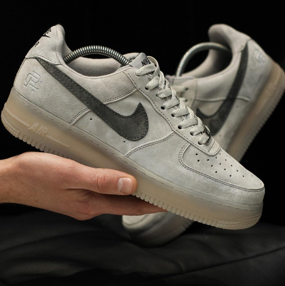 Кроссовки мужские Nike Air Force 1 Mid x Reigning Cham серые (Top replic)