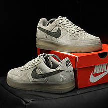 Кроссовки мужские Nike Air Force 1 Mid x Reigning Cham серые (Top replic), фото 3