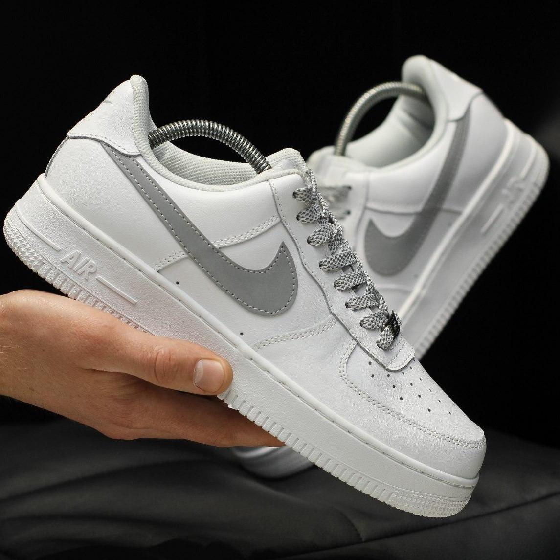 Кроссовки мужские Nike Air Force 1 ( Рефлектив ) белые (Top replic)