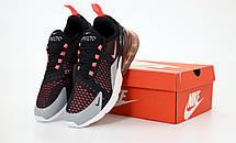 Кроссовки мужские Nike Air Max 270 черные-оранжевые (Top replic), фото 3