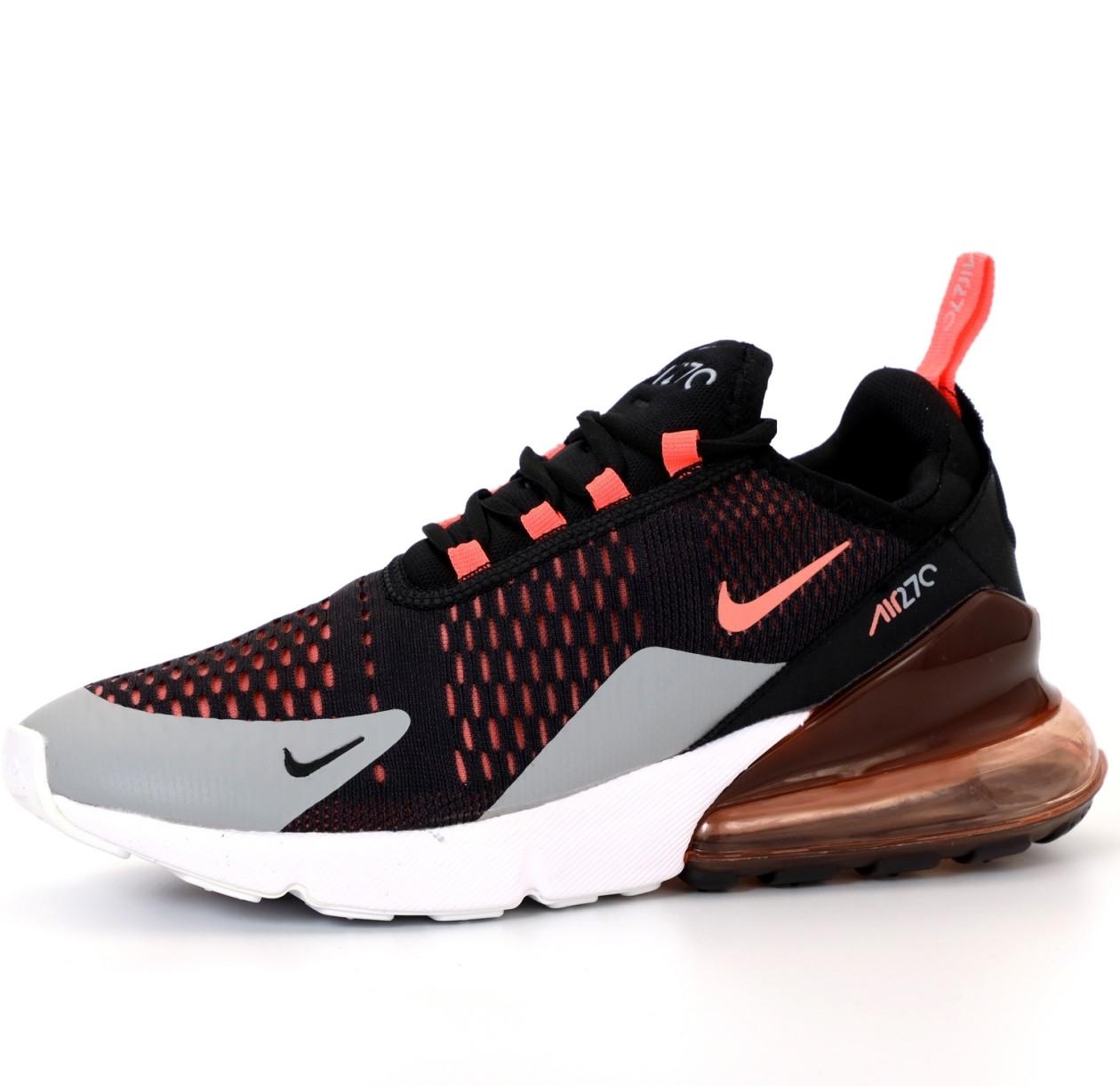 Кроссовки мужские Nike Air Max 270 черные-оранжевые (Top replic)