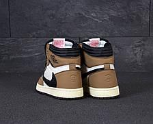 Кроссовки мужские Nike Air Jordan 1 Retro High коричневые-белые (Top replic), фото 3