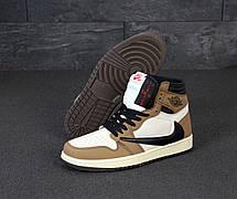 Кроссовки мужские Nike Air Jordan 1 Retro High коричневые-белые (Top replic), фото 2