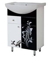 Тумба напольная с умывальником 60см ПИК с рисунком черно-белая бабочка
