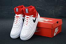 Кроссовки мужские Nike Air Force высокие белые-красные (Top replic), фото 3
