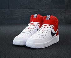 Кроссовки мужские Nike Air Force высокие белые-красные (Top replic), фото 2