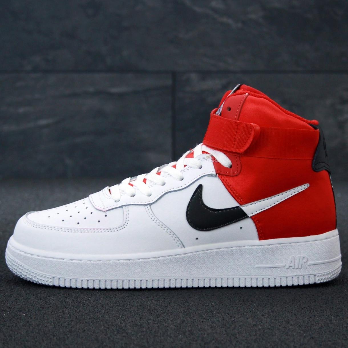 Кроссовки мужские Nike Air Force высокие белые-красные (Top replic)