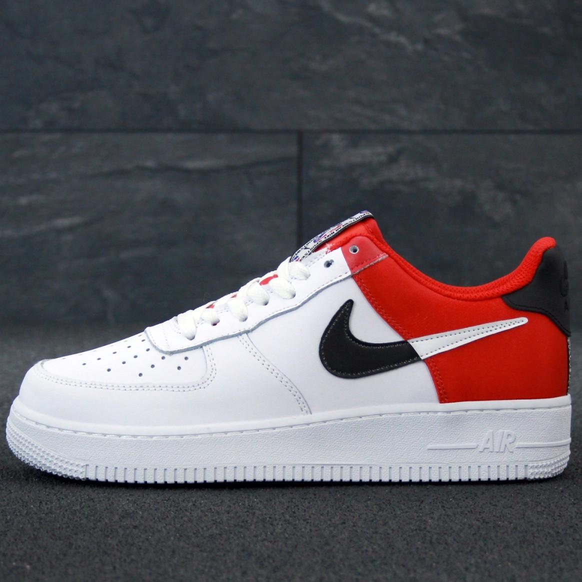 Кроссовки мужские Nike Air Force низкие белые-красные (Top replic)