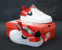 Кроссовки мужские Nike Air Force низкие белые-красные (Top replic), фото 3