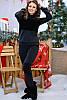 Стильный трикотажный на меху женский костюм черного цвета, фото 2