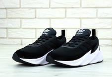 Кроссовки мужские Adidas Shark черные на белой подошве (Top replic), фото 2