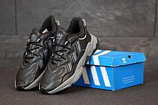 Кроссовки мужские Adidas Ozweego КОЖА черные (Top replic), фото 2