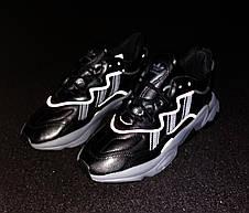 Кроссовки мужские Adidas Ozweego КОЖА черные (Top replic), фото 3