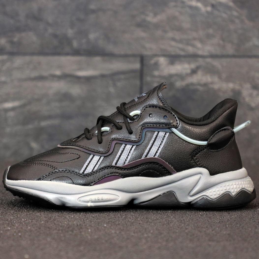 Кроссовки мужские Adidas Ozweego КОЖА черные (Top replic)