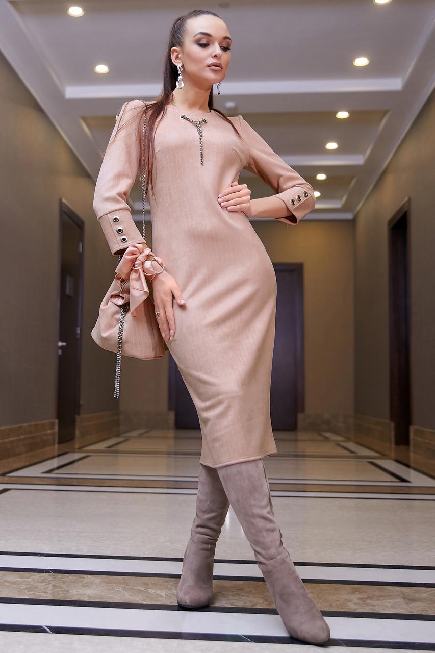Элегантное повседневное платье миди, размеры от 42 до 48, эко-замша персикового цвета