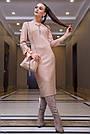 Элегантное повседневное платье миди, размеры от 42 до 48, эко-замша персикового цвета, фото 3