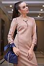 Элегантное повседневное платье миди, размеры от 42 до 48, эко-замша персикового цвета, фото 4