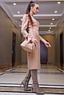 Элегантное повседневное платье миди, размеры от 42 до 48, эко-замша персикового цвета, фото 5
