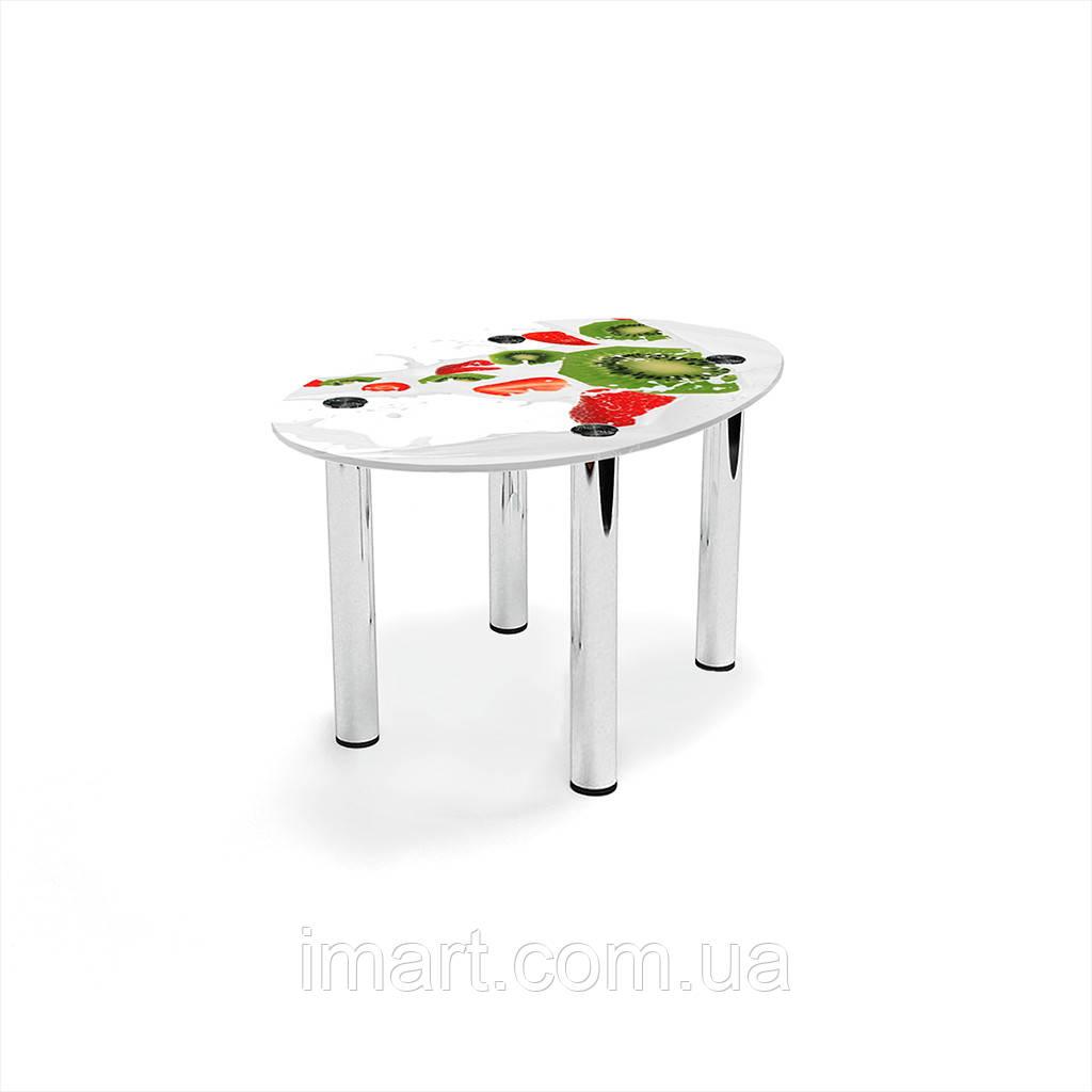 Журнальный стол овальный Fruit&Milk стеклянный