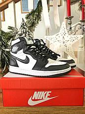 Кросівки чоловічі Nike Air Jordan 1 Retro білі-чорні (Top replic), фото 3