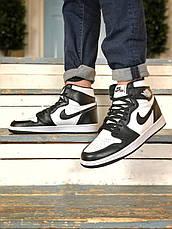 Кросівки чоловічі Nike Air Jordan 1 Retro білі-чорні (Top replic), фото 2