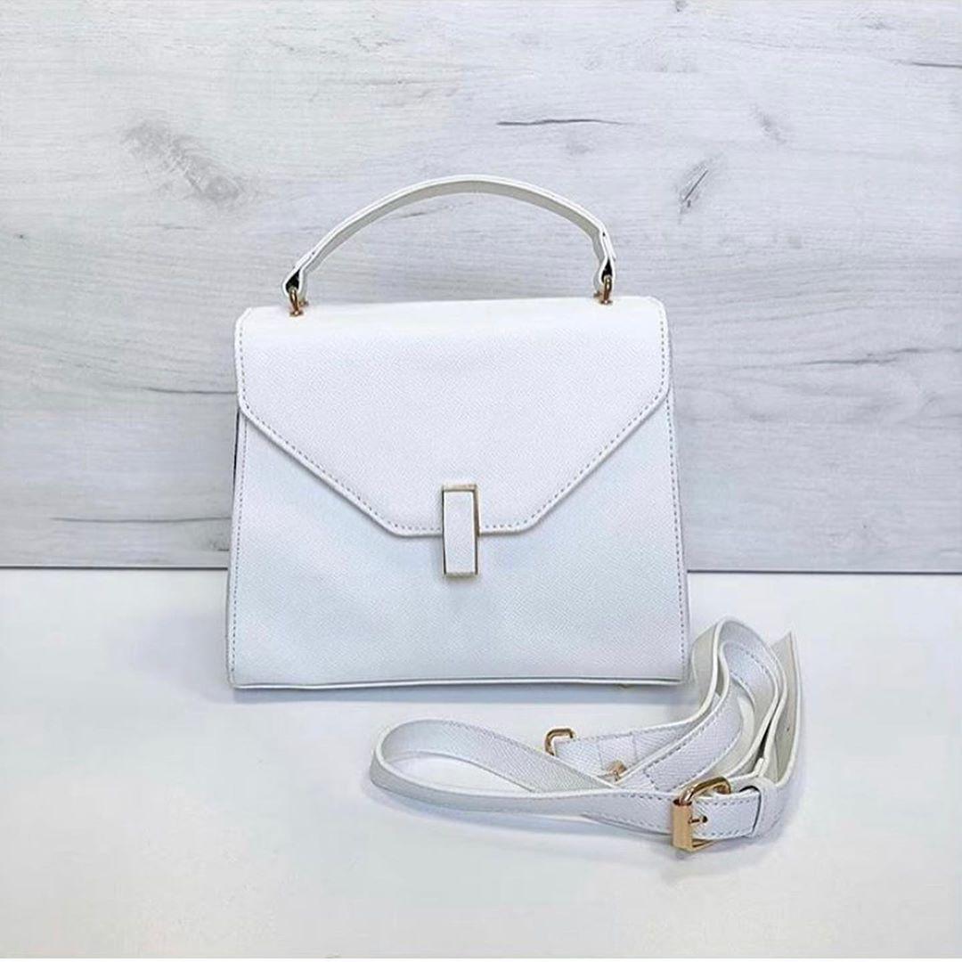 Большая модная сумочка в форме трапеции (0313-L) Белый