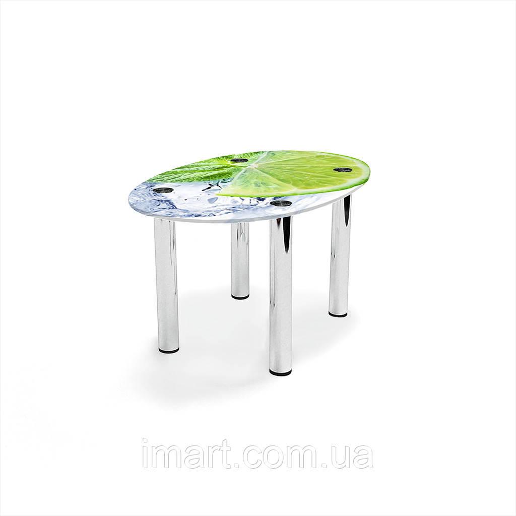 Журнальный стол овальный Ice lime стеклянный