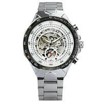 Winner 8067 Silver-Black-White Red Cristal Мужские наручные часы механические с автоподзаводом