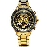 Winner 8067 Gold-Black-Black Red Cristal Мужские наручные часы механические с автоподзаводом