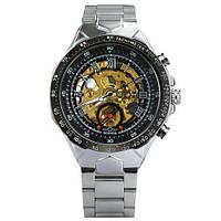 Winner 8067 Silver-Black-Gold Red Мужские наручные часы механические с автоподзаводом