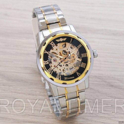 Winner Automatic Silver-Black-Gold Мужские наручные часы механические с автоподзаводом