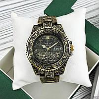 ЧАСЫ Rolex Submariner ( Ролекс) мужские, женские золотистый браслет, черный цф)  Чоловічий годинник Гарантия!