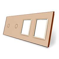 Сенсорная панель выключателя Livolo 2 канала и две розетки (1-1-0-0) золото стекло (VL-C7-C1/C1/SR/SR-13), фото 1