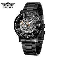 Winner 8012 Diamonds Automatic Black-Silver Мужские наручные часы механические