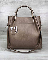 Золотистая сумка 57013 деловая с двойными металлическими ручками и косметичкой, фото 1