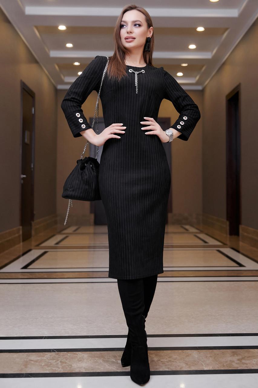 Офисное повседневное платье миди, размеры от 42 до 48, эко-замша чёрного цвета