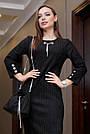 Офисное повседневное платье миди, размеры от 42 до 48, эко-замша чёрного цвета, фото 2