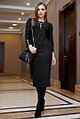Офисное повседневное платье миди, размеры от 42 до 48, эко-замша чёрного цвета, фото 3
