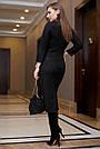 Офисное повседневное платье миди, размеры от 42 до 48, эко-замша чёрного цвета, фото 5